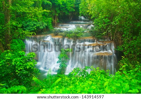 Waterfall in the forest kanchanaburi thailand - stock photo