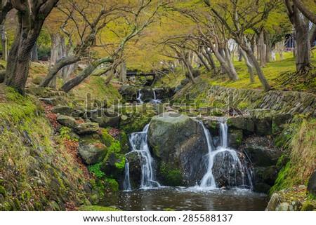 waterfall in the garden spring season,Japan. - stock photo
