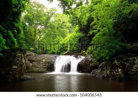 Waterfall in the national park, PaLa U waterfall - stock photo