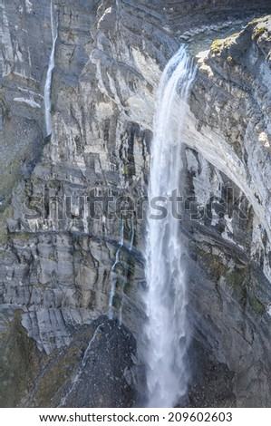 Waterfall in the Nervion river source, North of Spain - stock photo