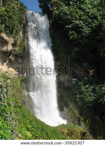 Waterfall in the park of the city of Edessa, Greece - stock photo