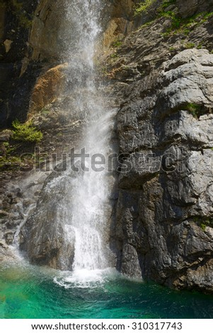 Waterfall in the Pyrenees, Aragues Valley, Aragon, Huesca, Spain. - stock photo