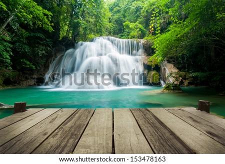 Waterfall in tropical forest at Erawan national park Kanchanaburi province, Thailand - stock photo