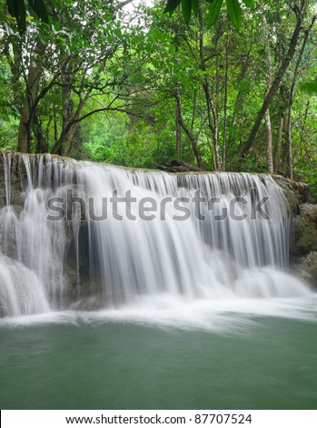 Waterfall in tropical Thailand - stock photo