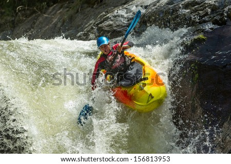 Waterfall kayak jump , Sangay National Park, Ecuador - stock photo