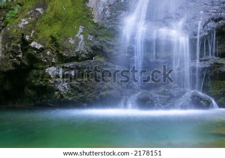 Waterfall, long exposure - stock photo