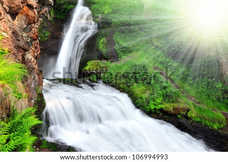 Waterfall of Cavalese,Val di Fiemme,Italy - stock photo