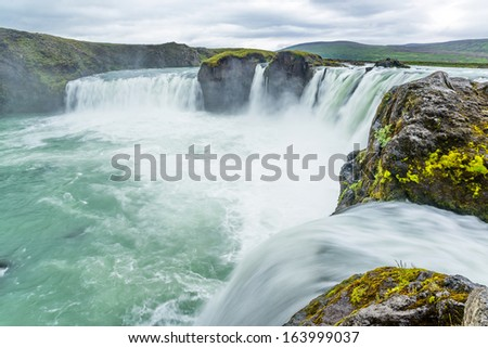 Waterfall of Gods, in Bardardalur, water coming from Skjolfandafljot river  - stock photo