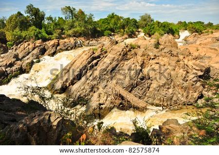 waterfall on don det island, laos - stock photo