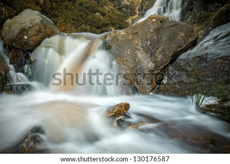 Waterfall on Ilkley Moor after rainfall in Yorkshire, UK - stock photo