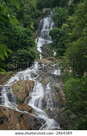 Waterfall on Koh Samui island - stock photo