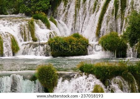 Waterfall on KRKA river in Croatia - KRKA National Park-  nature travel background - stock photo