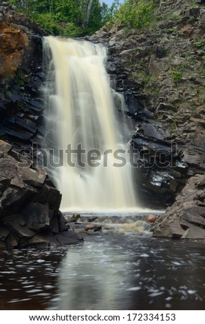 Waterfall on the Fall River near Grand Marias, Minnesota - stock photo