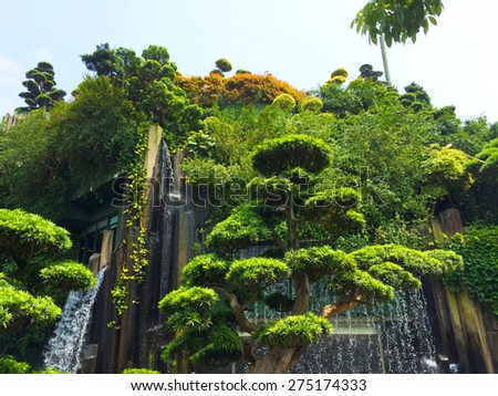 Waterfall on the tree - stock photo