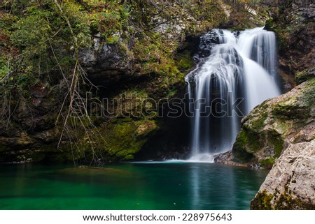 Waterfall Sum at Vintgar gorge, one of the most popular natural features in Slovenia. - stock photo