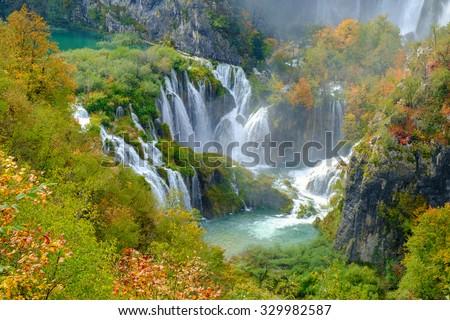Waterfall the Plitvice Lakes in autumn, Croatia - stock photo