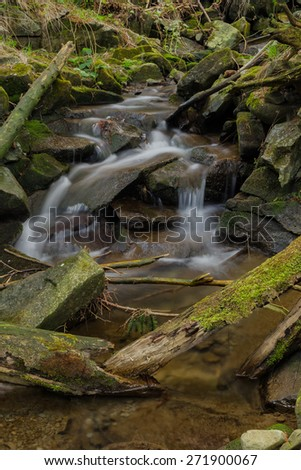 Waterfall with branches - stock photo
