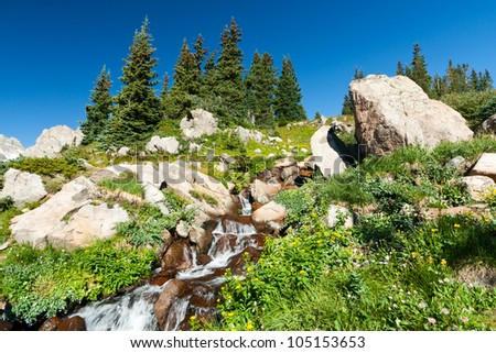 Waterfall with colorful wildflowers in the Colorado mountains landscape - stock photo