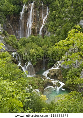 Waterfalls and lakes in Plitvice National Park, Croatia - stock photo