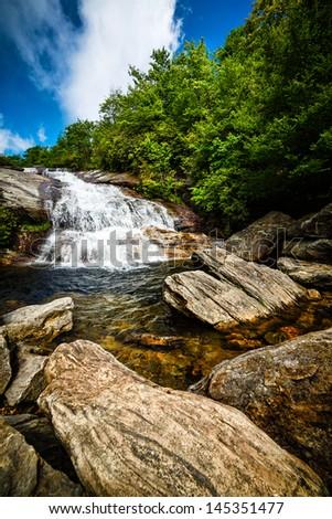 Waterfalls at Graveyard Fields North Carolina Blue Ridge Parkway - stock photo