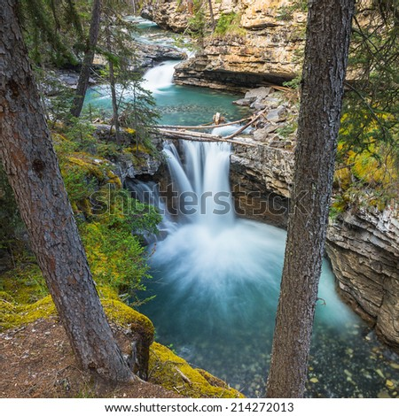 waterfalls at the Johnston Canyon in banff canada - stock photo