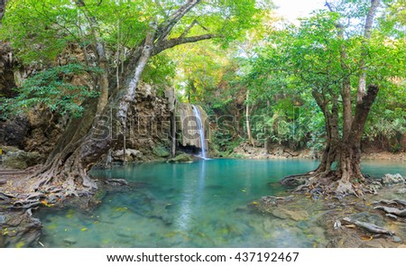 Waterfalls In Deep Forest at Erawan Waterfall in National Park Kanchanaburi Thailand - stock photo