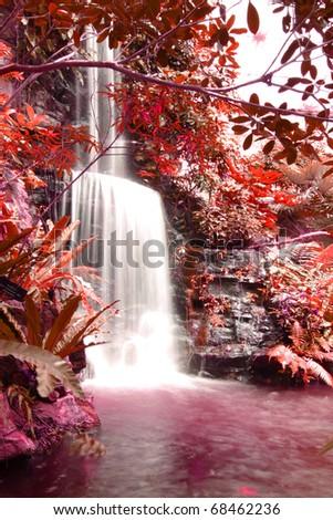 waterfalls in deep forest autumn season - stock photo