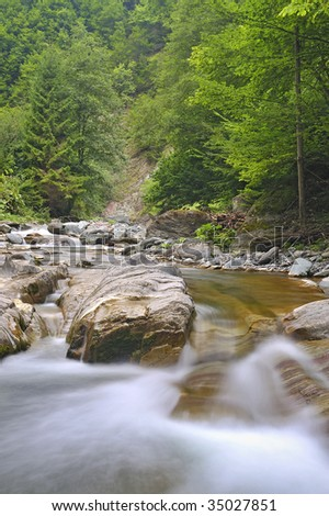 waterfalls in forest - stock photo