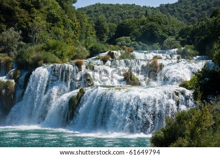 Waterfalls in National Park Krka, Croatia - stock photo