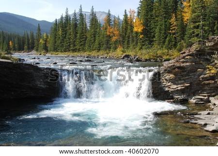 Waterfalls in sheep river valley, alberta, canada - stock photo
