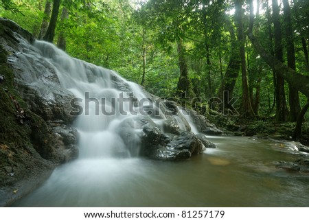 Waterfalls in the tropical forests of Thailand is a tourist place. - stock photo