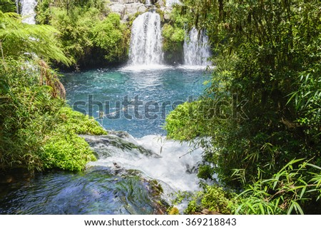 Waterfalls of Ojos del Caburgua, Chile - stock photo