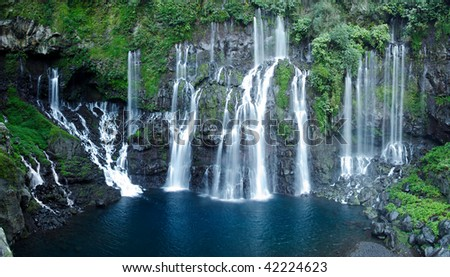 Waterfalls of the Reunion island - stock photo