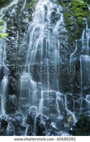 Waterfalls on the slopes of Mount Hood in Oregon - stock photo