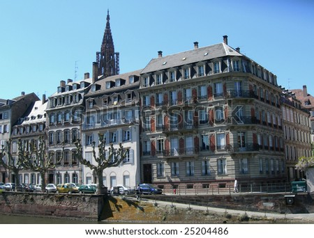 Waterfront colorful houses in the old city of Strasbourg, France - stock photo