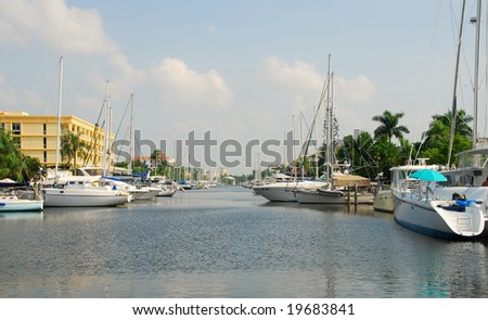 Waterfront community in Fort Lauderdale, Florida - stock photo