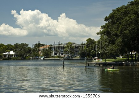 Waterfront homes along the Intercoastal Waterway in St. Petersburg, Florida - stock photo