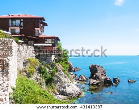 waterfront in Sozopol town - seaside resort on Black Sea coast in Bulgaria - stock photo