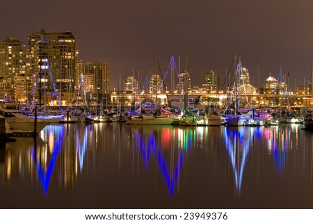 Waterfront Light Show - stock photo