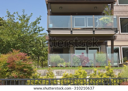Waterfront modern residential condominiums Vancouver WA. - stock photo