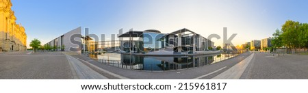Waterfront on the Reichstag backyard - Berlin, Germany - stock photo