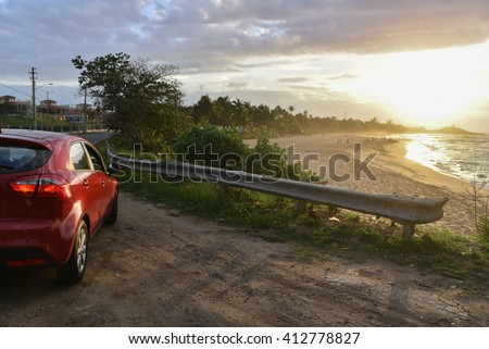 Waterfront Real Estate in Puerto Rico - Homes in La Perla, San Juan (Space for Copy) - stock photo