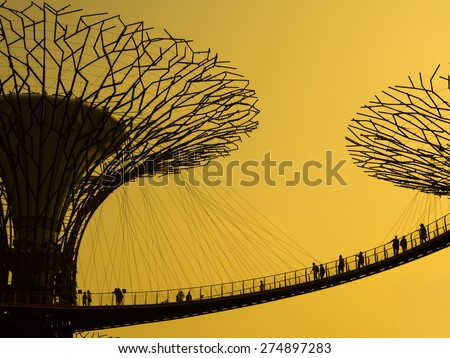 Waterfront, Singapore - March 09, 2014 : Silhouette of Gardens by the Bay. The place was crowned World Building of the Year at the World Architecture Festival 2012 - stock photo