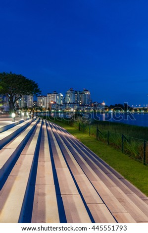 waterfront step in public space by water at new national stadium in Singapore - stock photo