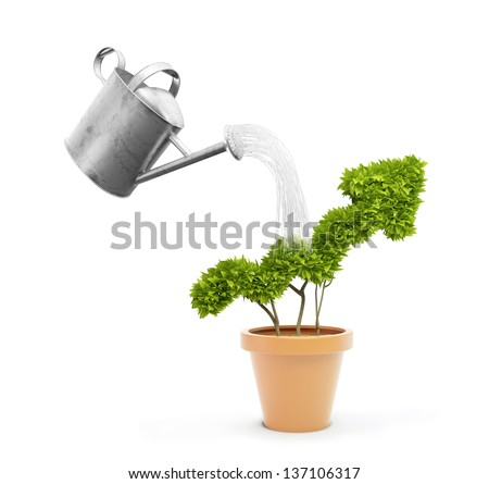 Watering a small plant shaped like a graph in a pot - stock photo