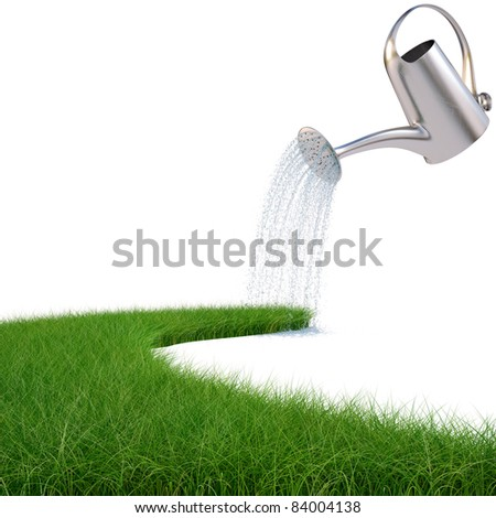 watering can pouring water on the road from the grass. isolated on white. - stock photo