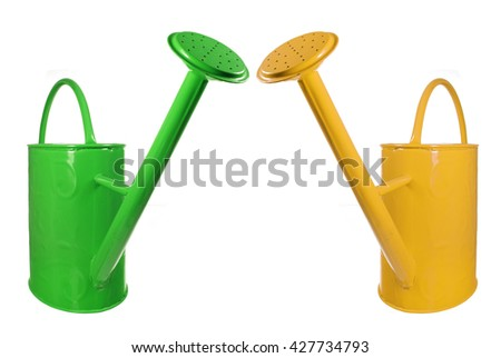 Watering Cans on White Background - stock photo