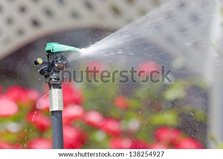 Watering flowers in the garden. Rotating sprinkler head sprays a cone of water on a thirsty flower bed in front of a garden lattice structure. Blurred flowers and lattice background. - stock photo