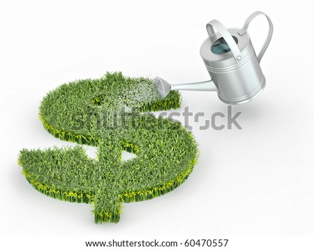 Watering lawns in the form of sign dollar. 3d - stock photo