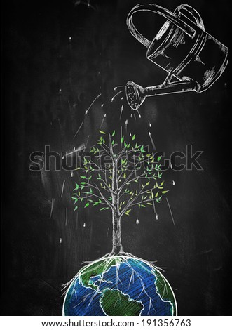 Watering Tree of the world - stock photo